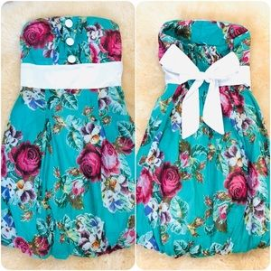 💚🌺 Teal Floral Strapless Dress with Bow 🌺💚